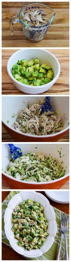 Chicken and Avocado Salad with Lime and Cilantro Recipe. Sub Greek yogurt instead of mayo and this works for the 21 Day Fix! Chicken and Avocado Salad with Lime and Cilantro Recipe. Sub Greek yogurt instead of mayo and this works for the 21 Day Fix! Think Food, I Love Food, Food For Thought, Healthy Snacks, Healthy Eating, Healthy Food Prep, Paleo Food, Healthy Recipes For Weight Loss, Healthy Protein