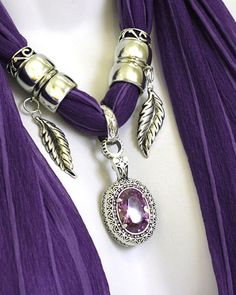 Purple Pendant Scarf Jewelry Purple Scarf by RavensNestScarfJewel, $27.00