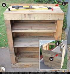 How To Build a Beautiful Rustic Pallet Cabinet - Construction. By SimeonHendrix. Diy Pallet Furniture, Diy Pallet Projects, Wood Projects, Pallet Ideas, House Furniture, Furniture Design, Pallet Crates, Wood Pallets, Pallet Benches