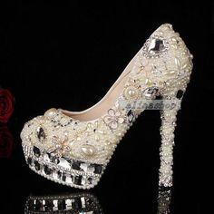 Luxury Pearl shoes gems diamond pearl flowers sparkly custom wedding shoes heels birdal heels