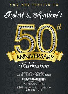 50th Anniversary Invitation - Diamond, Gold Party Invite