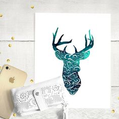 #Rustic #watercolor #print | Curly Deer blue by PupixelShop on Etsy