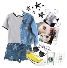 """""""Counting Stars"""" by thaisa1989 ❤ liked on Polyvore featuring Denim & Supply by Ralph Lauren, Chicnova Fashion, Calvin Klein Jeans, Quay, Converse and Mom2mom"""