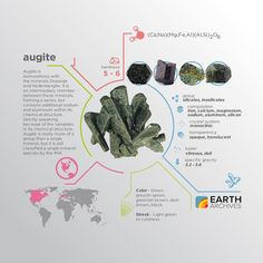 Although augite is a relatively dull mineral it gets its name from the Greek 'augites' meaning 'brightness'.
