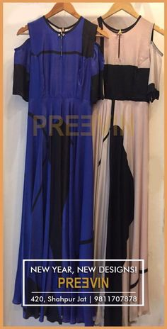 Look stylish and feel beautiful in our exciting new designs. The Blue and pale Pink dresses with cut-out shoulder are out now! Place your order on 9811707878! #Preevin #Fashion #Dresses #Style #Shopping #Fashionlovers #Maxi #Dress
