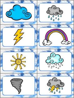 """Weather Slap It! Card Game This Weather Slap-it Card Game is great for teaching kids weather words! Slap It! is based on the traditional card game """"Slap Jack"""" and the kids LOVE slapping all the words and pictures as they learn about the weather! Weather For Kids, Weather Activities For Kids, Teaching Weather, Science Activities, Teaching Kids, Weather Chart For Preschool, Weather Symbols For Kids, Cold Weather, Weather Crafts"""
