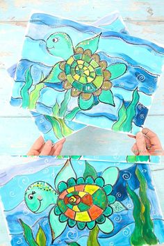 Abstract Art For Kids, Painting For Kids, Drawing For Kids, Painting Activities, Summer Activities For Kids, Under The Sea Crafts, Sea Turtle Art, Ocean Crafts, Turtle Painting