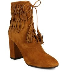 Aquazzura Woodstock Suede Fringe Collar Booties ($1,040) ❤ liked on Polyvore featuring shoes, boots, ankle booties, brown, apparel & accessories, fringe ankle booties, lace up boots, suede ankle booties and fringe boots