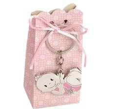 Detalles para bautizo Llavero metal bebé niña chupete. Se presenta en caja semi-alta tonos rosas, con 5 peladillas de chocolate, cola de ratón a tono y tarjeta personalizada, nombre y fecha del evento.