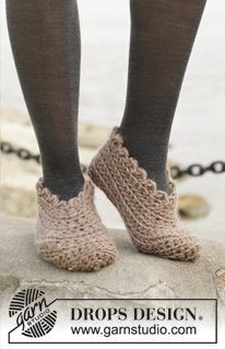 "Shifting Sand - Pantufas DROPS em croché, em ""Andes"". Do 35 ao 43. - Free pattern by DROPS Design"