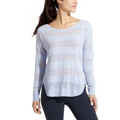 Athleta Women Sunrise Sweater ($33) ❤ liked on Polyvore featuring tops, sweaters, pure blue, blue sweater, drop shoulder sweater, blue top, athleta and side slit top