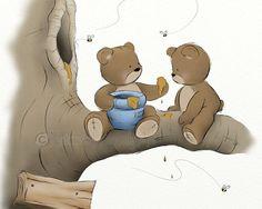 Blue Boys Nursery Wall Art Print Teddy Bear by NaturesHeavenlyArt