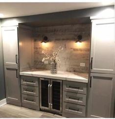 Would be great in a butlers pantry, kitchen, dining room, or basement. Wet Bar Basement, Basement Kitchenette, Basement Bar Designs, Home Bar Designs, Basement Ideas, Basement Finishing, Wet Bar Designs, Basement Makeover, Basement Renovations