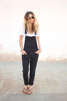 #Fall #Outfit Inspiration: Metallic Trend. Metallic birkenstock sandals worn with black #overalls