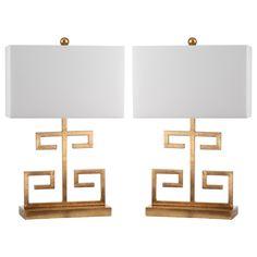 Safavieh Indoor 1-light Gold Greek Key Table Lamp (Set of 2)