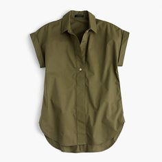 """This classic top has a wide placket that can be worn buttoned or unbuttoned, depending on your mood (and your outfit). It's made from crisp cotton and finished with cuffed sleeves and a shirttail hem, so it's easy but polished. That's what we call a win-win. <ul><li>Body length: 28"""".</li><li>Cotton.</li><li>Machine wash.</li><li>Import.</li><li></li></ul>"""