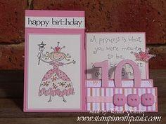 Princess happy birthday side step card