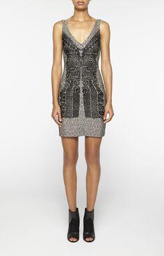 Nicole miller Soutache Embriodery V Neck Dress in Silver (BLACK/SILVER)