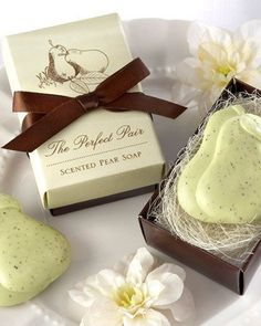 "Celebrate the newly weds with these fresh ""the perfect pair"" pear soap favors! They're perfect as wedding favors, engagement party favors and wedding shower favors."