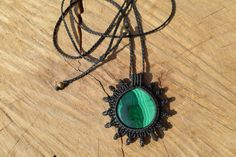 malachite pendant,macrame pendant,macrame sun design,malachite cabochon,gemstone pendant,malachite jewelry,green gemstone,macrame necklace by ARTEAMANOetsy on Etsy