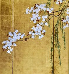 One of a pair of Japanese Folding Screens: Maples and Cherry Trees. by Sakai Hoitsu 酒井抱一. The Denver Art Museum. Japanese Painting, Chinese Painting, Chinese Art, Vine Drawing, Asian Sculptures, Feuille D'or, Art Deco Decor, Chinoiserie Wallpaper, Art Japonais