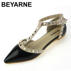 18.80$  Buy now - http://ali8uk.shopchina.info/go.php?t=32805030688 - BEYARNE New Flat Shoes Women Sandals 2017 Red Rivets Pointed Toe Flats White Patent Leather Ankle T Strap Shoes Women's Flats  #buyininternet