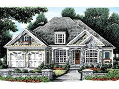 2054 sf, 4 bed, 3 bath, single story, French Country House Plan Dream Home Source House Plan Code DHSW32175