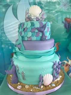 Aqua Mermaid Cake – My WordPress Website Mermaid Theme Birthday, Little Mermaid Birthday, Little Mermaid Parties, Girl Birthday, Birthday Ideas, Mermaid Baby Showers, Baby Mermaid, Mermaid Cupcakes, Shower Bebe