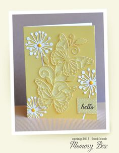 gorgeous handmade card ... yellow and white ... lacy die cut butterflies and flowers ... delightful!!