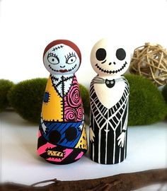 Jack and Sally Wedding Cake Toppers The Nightmare Before Christmas Wooden Wood Peg Dolls