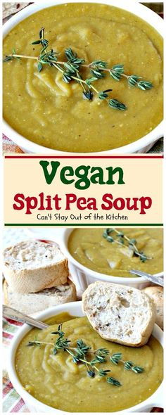 BEST split pea soup recipe and it's healthy! Loaded with split peas, onions, potatoes, carrots, celery, and wonderful seasonings.