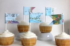 Map flag cupcake toppers / party decor / by OccasionalPapercraft