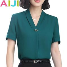 v-neck chiffon shirt women OL Summer fashion formal short sleeve Casual loose blouse ladies office plus size tops green pink v-neck chiffon shirt women OL Summer fashion formal short sleeve Casua – eefury Casual Skirt Outfits, Mode Outfits, Summer Outfits, Formal Tops For Women, Formal Shirt Women, Ladies Shirts Formal, Ladies Tops, Blouse Ample, Formal Shorts