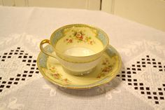 Vintage Noritake BlueDawn 622 Cup and Saucer White by PanchosPorch