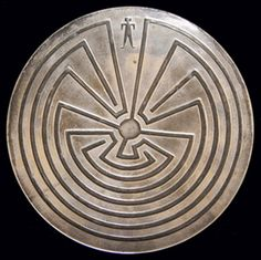 """Hopi Silver Dish c.1940  Silver dish with """"Man in the Maze"""" design"""
