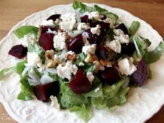 Roasted beet salad-adding goat cheese and walnuts