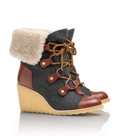 Oh Mah Gawd. NEED!!!  Marley Flannel Wedge Boot | Womens Boots & Booties | ToryBurch.com