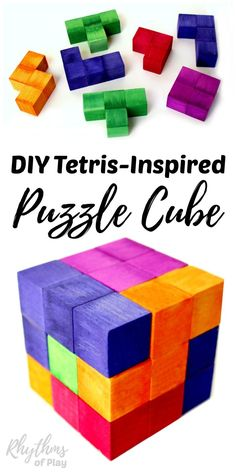 This DIY Tetris Puzzle Cube was inspired by the Nintendo video game of Tetris. Homemade wooden puzzles like these fun cubes make a great gift idea and stocking stuffer for both kids and adults. Anyone can exercise their geometric and spatial thinking by playing and experimenting with this puzzle's pieces. An awesome STEM activity for kids.