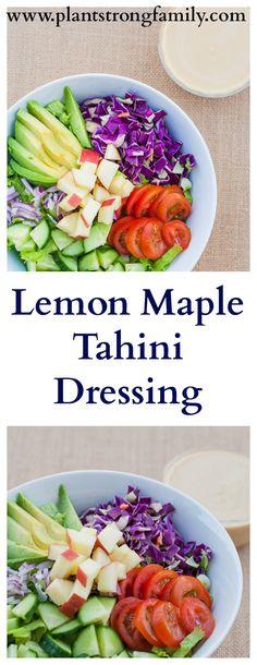 Slightly sweet, lemon tahini dressing sweetened with pure maple syrup.