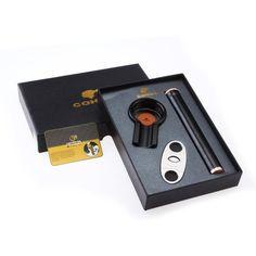 Titanium Cigar Gift Set : Astray, Cutter Tube in Premium Gift Box – Cedar Humidor Cigar Gifts, Cigar Tube, Cigar Ashtray, Business Gifts, Cigar Cutter, Travel Style, Cool Stuff, Box, Snare Drum