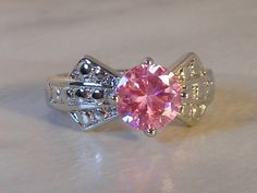 Vintage Silver Plated Pink  Ring        Size 9     Glass Rhinestone    Art Deco Style by GemstoneCowboy on Etsy