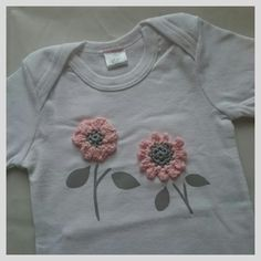 Baby onesie with flower crochet applique | Lil Joy