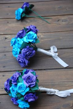 Origami Purple and Blue Wedding Bouquet! I would love to make these for my wedding, fun to create & such a money saver! Plus u can keep them after! Lol