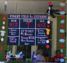Another look at the scoreboard...  Brandon and Katie's Baseball Theme Couples Baby Shower ginaeubank.blogsp...