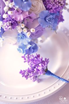Lilac Boutonniere to Match the Bouquet (blue instead of purple)