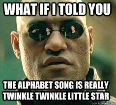 what if i told you the alphabet song is really twinkle twinkle little star