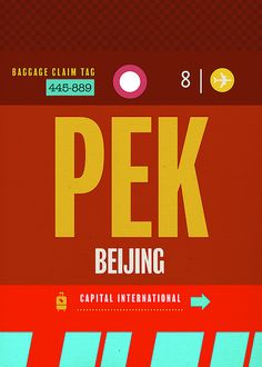 Beijing PEK China Airport Travel Baggage Claim Tag by Design Turnpike Cheap Flight Deals, Cheap Flight Tickets, Air Ticket Booking, Air Tickets, International Flight Tickets, Baggage Claim, Cheap Flights, Travel Scrapbook, Beijing