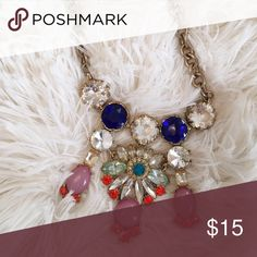 J. Crew Statement Necklace This J. Crew necklace is the perfect accessory to make your outfit pop with its bright and bold diamonds. Gently worn but in good condition. J. Crew Jewelry Necklaces