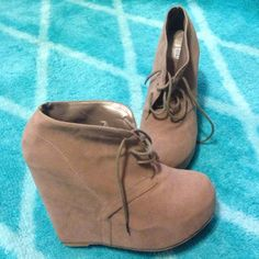 Tan Suede wedges Size 9, worn couple of times normal wear on the bottom, very comfortable and in style Shoes Wedges