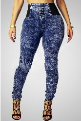 High Waist Button Blue Denim Skinny Jeans from Maven of Swank Comes in Sizes M, L, XL, 2X